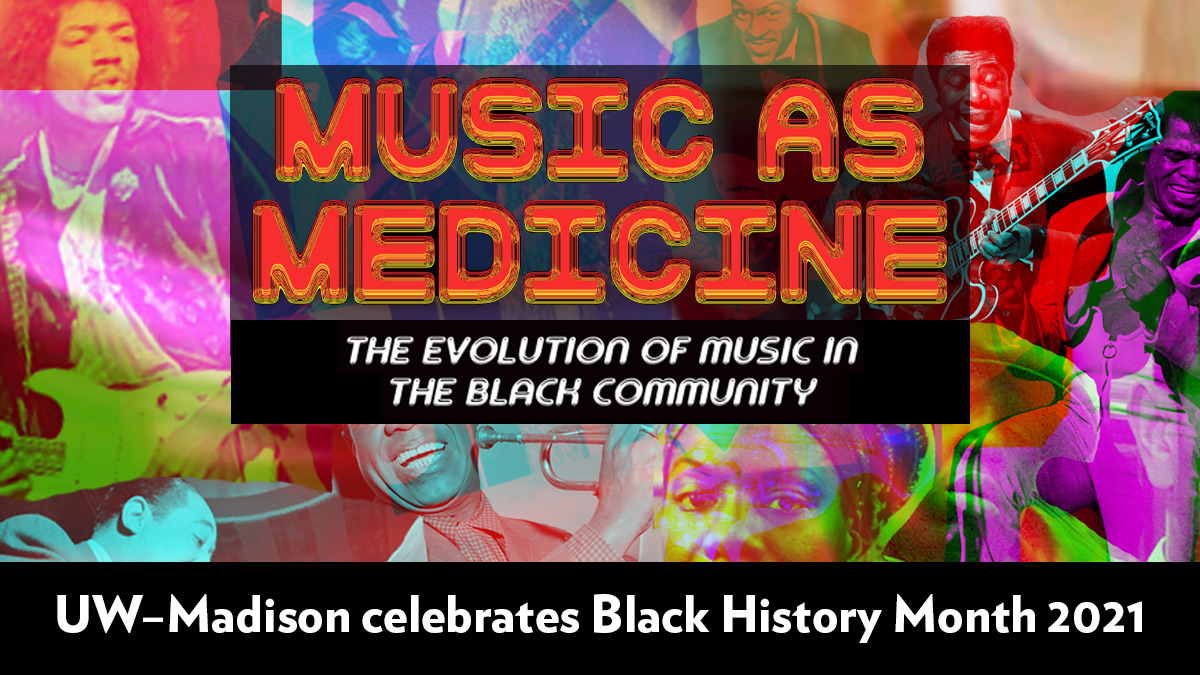 """A poster for Black History Month that illustrates a medicine bottle filled with a colorful collage of cutout images of popular Black musicians being poured into a spoon. The title is """"Music as Medicine: Music as Medicine: Evolution of Music in the Black Community."""""""