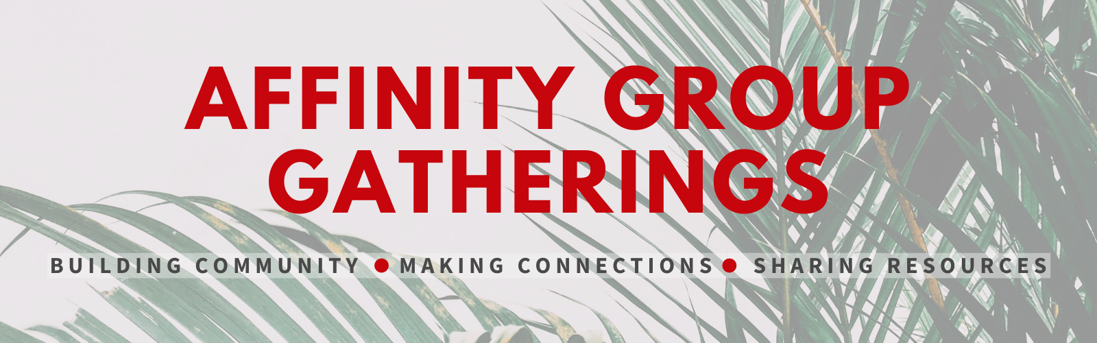 "Big red letters reading ""Affinity Group Gatherings: Building Community 