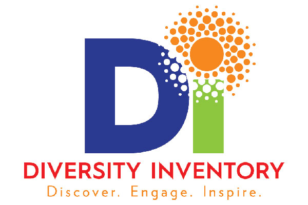 """Logo for the Diversity Inventory featuring a navy blue, green and orange depiction of the letters """"DI"""" and the tagline """"Discover. Engage. Inspire."""""""