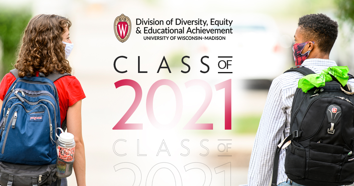 """Two people wearing backpacks and colorful face masks look at each other with the DDEEA logo and """"Class of 2021"""" inserted in the space between them."""