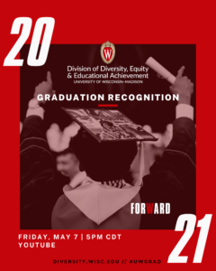 The cover page of a digital program booklet. Red with white letters spelling out 2021 and Graduation Recognition with a photo of the back of a person's head wearing a graduation cap on an afro gesturing in triumph.