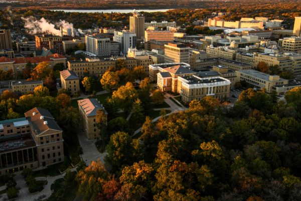 aerial shot of mid campus showing Bascom Hall on a fall day.