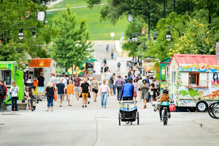 Food carts on library mall in the summer